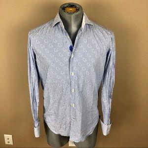 Robert Graham Striped Button Down Cufflinks Shirt
